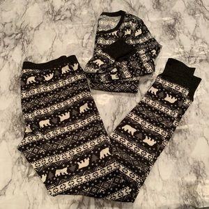 Thermal Two Piece Pajama Set Leggings Long Sleeve